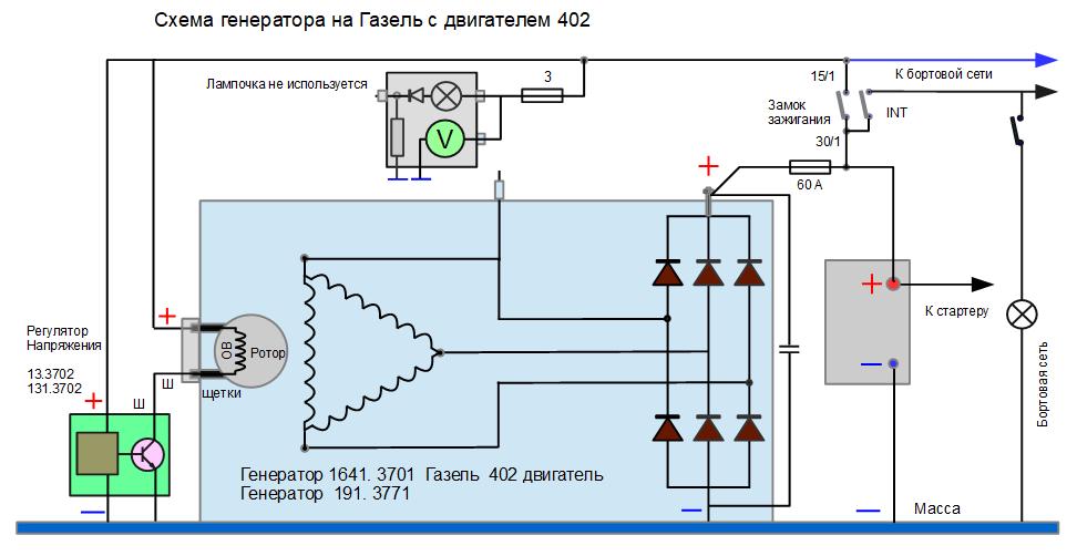 Схема генератора 191.3771 на Газель