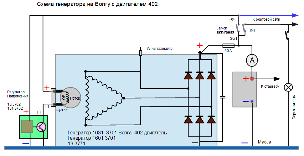 схема генератора 16.3701 на Волгу 402