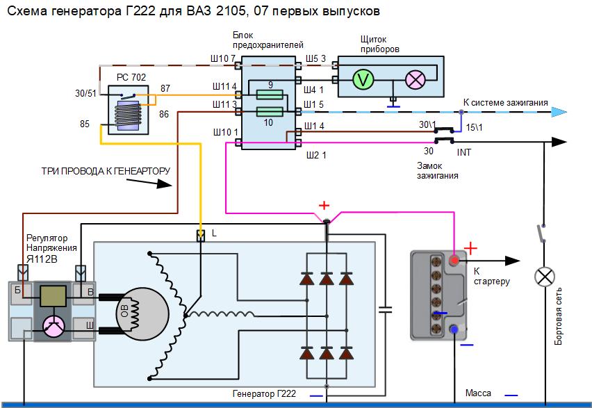 схема генератора Г222 на пятерку