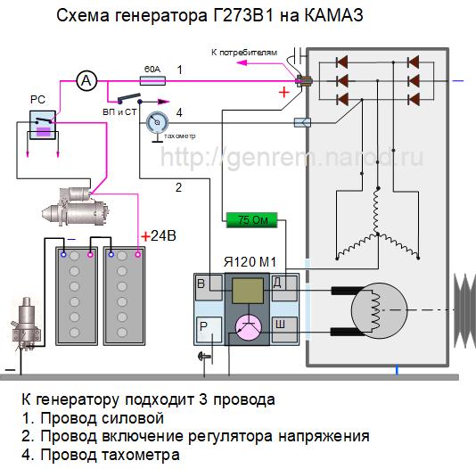схема генератора Г273 на КАМАЗ