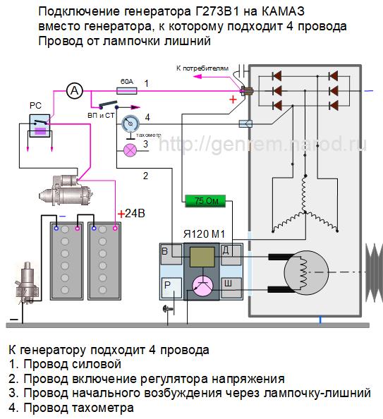 Схема замены генератора КАМАЗ