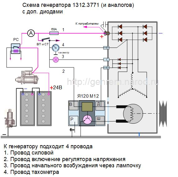 схема генератора 1322 на КАМАЗ